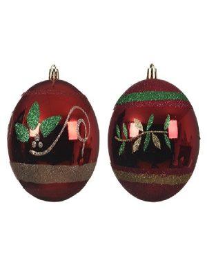 Bruchfest Kugel 2x Rot mit Glitterdesign